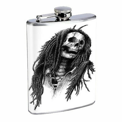 Skull Flask D68 8oz Stainless Steel Scary Horror Death Frightening