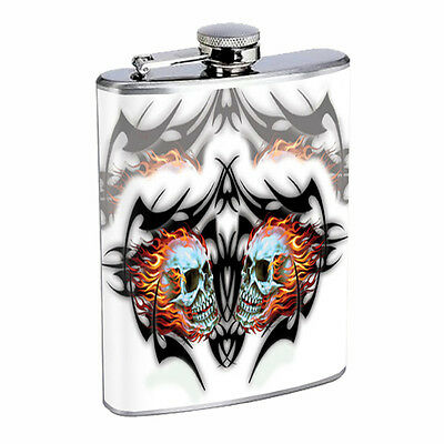 Skull Flask D69 8oz Stainless Steel Scary Horror Death Frightening