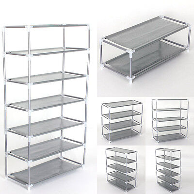 2~7 Tiers Metal Adjustable Shoes Shelf Rack Stand Storage Organizer Boot Holder