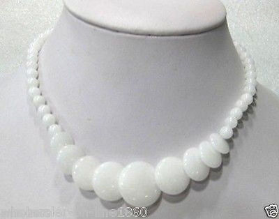 """Beautiful Natural White Jade Gemstone Round&Coin Beads Necklace 17""""AAA"""