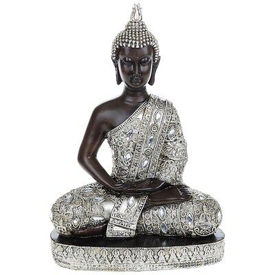 Large Meditating Thai Buddha 31cm Silver Gold Statue Ornament Figurine