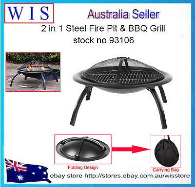 """26"""" Portable Foldable Outdoor Fire Pit Fireplace Camping Garden Heater BBQ-93106"""
