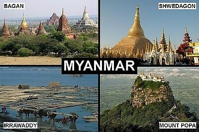 SOUVENIR FRIDGE MAGNET of MYANMAR & BAGAN & SHWEDAGON
