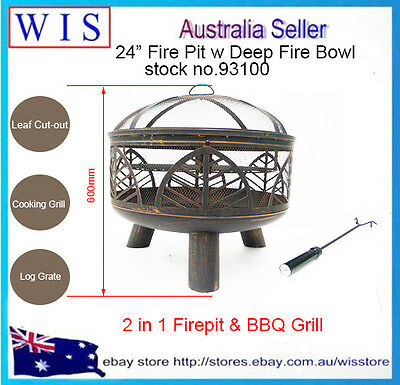 "24"" Fire Pit Cooking Grill FireBowl Outdoor Patio Fireplace Garden Stove Firepit"