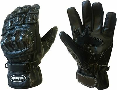 New Motorcycle Motorbike Sports Short Cowhide Leather Summer Vented Gloves