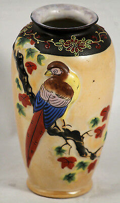 Vintage Ceramic Vase Made in Japan Intricately Painted Hand Painted Collectable