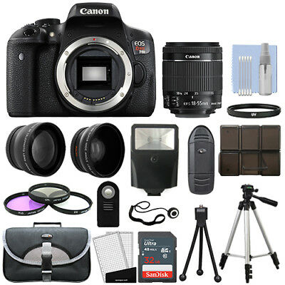 Canon T6i / 750D Digital SLR Camera + 3 Lens Kit 18-55mm STM Lens + 32GB Bundle