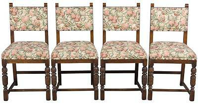 Vintage Antique Style Set of Four Oak Upholstered Dining Room Chairs Kitchen