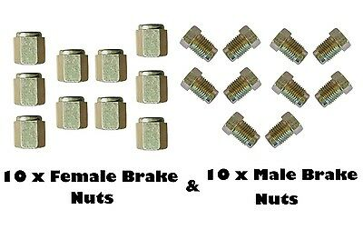 """20 pkt 10mm Short Brake Pipe Nuts 10 x MALE 10 x FEMALE for 3/16"""" pipe Metric"""