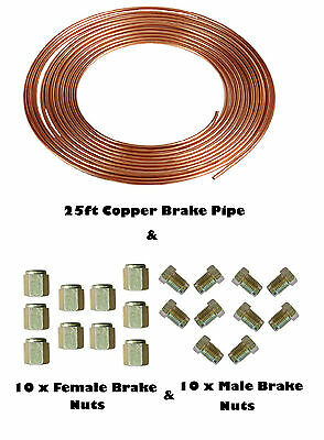 "25ft Copper Brake Pipe & Nuts 10 x MALE 10 x FEMALE for 3/16"" pipe Metric"