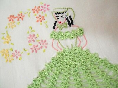 Vintage Antique SOUTHERN BELLE EMBROIDERED CROCHETED Cotton Pillowcase Standard