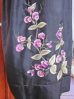 VICTORIAN ERA BLACK SILK LONG APRON HAND MADE+SILK EMBROIDERY SWEET PEAS LOVELY