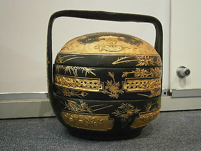 Antique Beautiful Chinese Peranakan Straits Bakul Siah Wedding Basket Gold Super