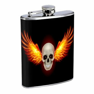 Skull Flask D101 8oz Stainless Steel Scary Horror Death Frightening