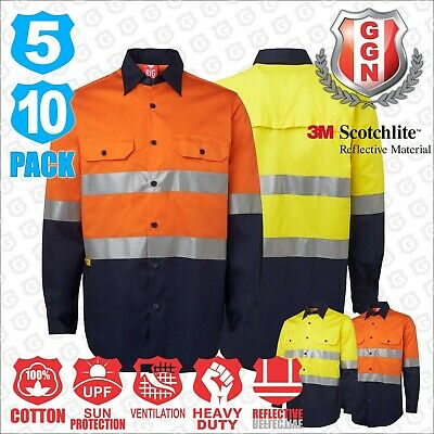 HI VIS Shirts 5 10 PACK SAFETY WORK Wear COTTON DRILL LONG 3M Tape Back Vents
