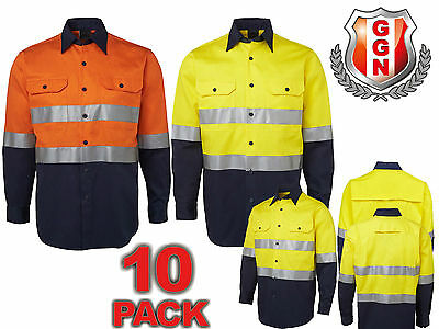 10x HI VIS SAFETY WORK WEAR COTTON DRILL SHIRT,LONG SLEEVE,REFLECTIVE,VENTS