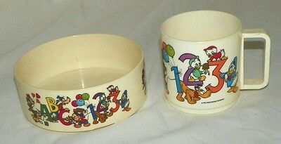 Disney Vintage Child's Dishes Mickey & Friends Kids Cup & Bowl by Super-seal