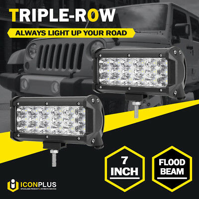 2x 7inch 180W PHILIPS LED Work Light Bar Flood Offroad Driving Pickup 4WD ATV 6""