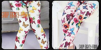 Kids Girls Toddler Floral Butterfly vintage Leggings Size 2 3 4 5 6 7 8