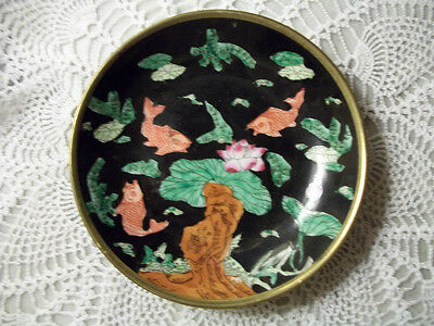 Trifles Japanese Porcelain Hand Painted Gold Decorated Shallow Dish Bowl, Black