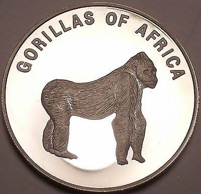 Silver Proof Uganda 2003 1,000 Shillings~Gorilla On All Fours~Africa~Free Ship
