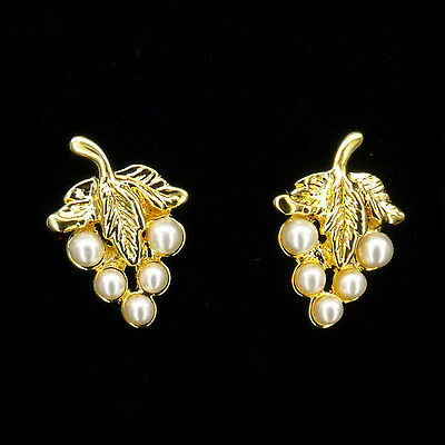 18K Gold Plated Earrings Pairs Stud Grape Fruits Costume Jewelry White Pearl New