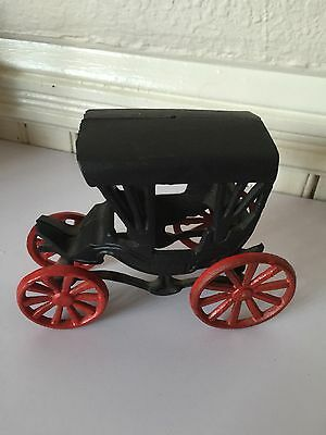 Vintage CAST IRON Rustic BLACK And RED Collectible Buggy Carriage