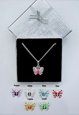 Silver Plated Enamel & Crystal Butterfly Pendant Necklace Bridesmaid  Gift Box