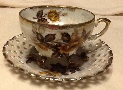 Vintage Original Napco China Tea Cup & Saucer Hand Painted Gold Yellow Rose