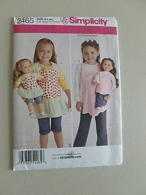 """New Uncut Simplicity Pattern 2465 Aprons Child and 18"""" Doll (American Girl)"""
