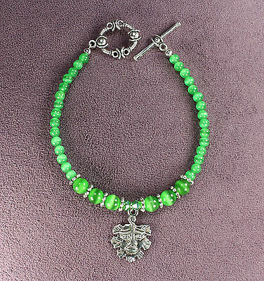 GREEN MAN SUMMER BRACELET Catseye Nature Spirit Tree Face Leaf Pagan Wicca