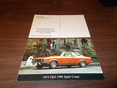 1972 Opel 1900 Sport Coupe Advertising Postcard