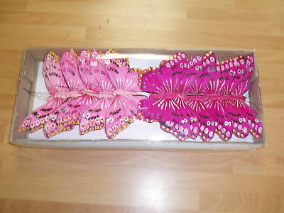 FEATHER BUTTERFLY ON WIRE PINK/CERISE 12 X 11cm NEW Wholesale Offer