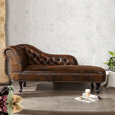Edle Chesterfield Recamiere [Winchester] Braun Kunstleder Chaiselounge