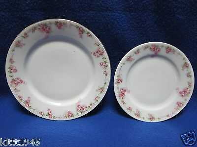TWO CLASSIC BAVARIA PLATES PINK FLOWER ROSE DESIGN GOLD TRIM SALAD BREAD BUTTER
