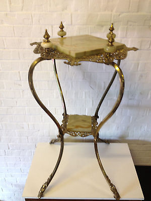 Antique Late 19th Early 20th Century Victorian Style Brass & Onyx Plant Stand