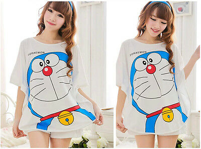 New Doraemon Womens Cute Sleepwear Pajamas Set Short Sleeve Nightgown