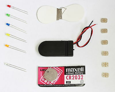 Wearable Experimenters Kit, Battery,Holder,LEDs,Conductive Thread,Break Out PCBs