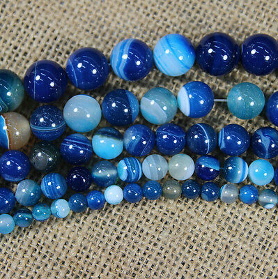 Natural Blue Striped Agate Round Gemstone Loose Spacer Beads Stone 8/10/12mm