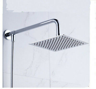 "Wall Mounted Shower Arm 10"" Square Rain Shower Head W/ Shower Hose Sprayer"