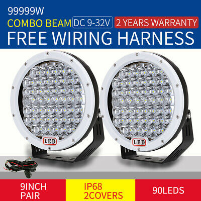 9inch 99999W Cree LED Driving Lights Round Spotlights Offroad 4WD white 12V work