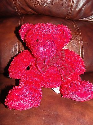 """Russ Berrie and Company Rosetta the Red Bear w/ Red Bow Plush Beanie Doll 9"""""""