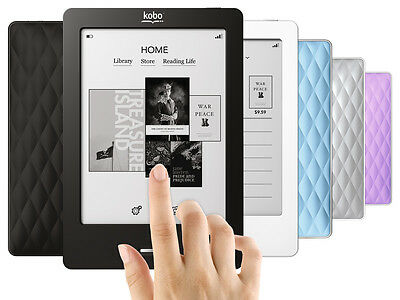 """NEW Kobo eReader Touch 2GB, Wi-Fi, 6"""" -Black, Lilac, Blue, White, Silver"""