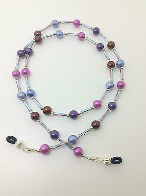 Hand Crafted Beaded Spectacle / Glasses Chain / Necklace. Shades of Purple SB02