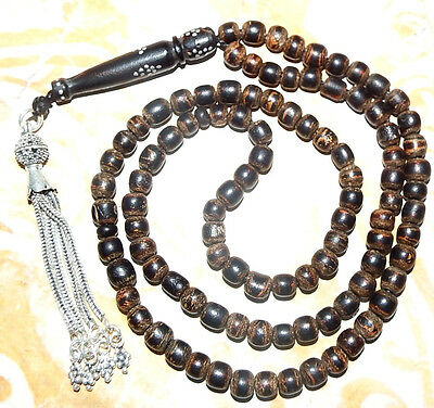925 sterling silver  antique black coral prayer beads worry beads makkawi  مكاوي