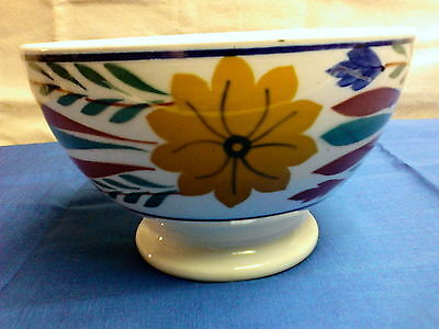 Antique Maastricht Societe Holland Footed Soup Bowl Stick Spatter Gaudy Dutch