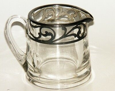 Deco Silver Inlay Creamer or Sauce Pitcher