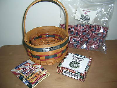 Longaberger 1997 Inaugural Basket w/ liner, protector & Tie-On -MINT