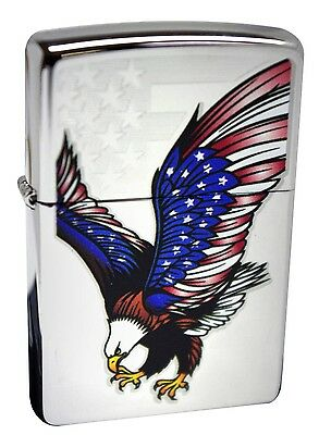 Zippo Eagle With Flag Wings High Polish Chrome Windproof Lighter 28449 New