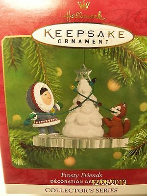 "Hallmark 2001 Ornament ""Frosty Friends""  #22 Husky Dog Helps Trim Tree"